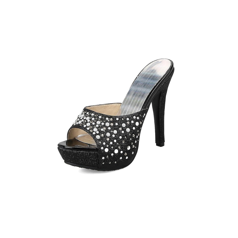 Unbekannt Sandalen von Frauen Fisch Mund Wasserdicht Plattform High Heel Flip Flop Größe Fein mit Schwarz 42