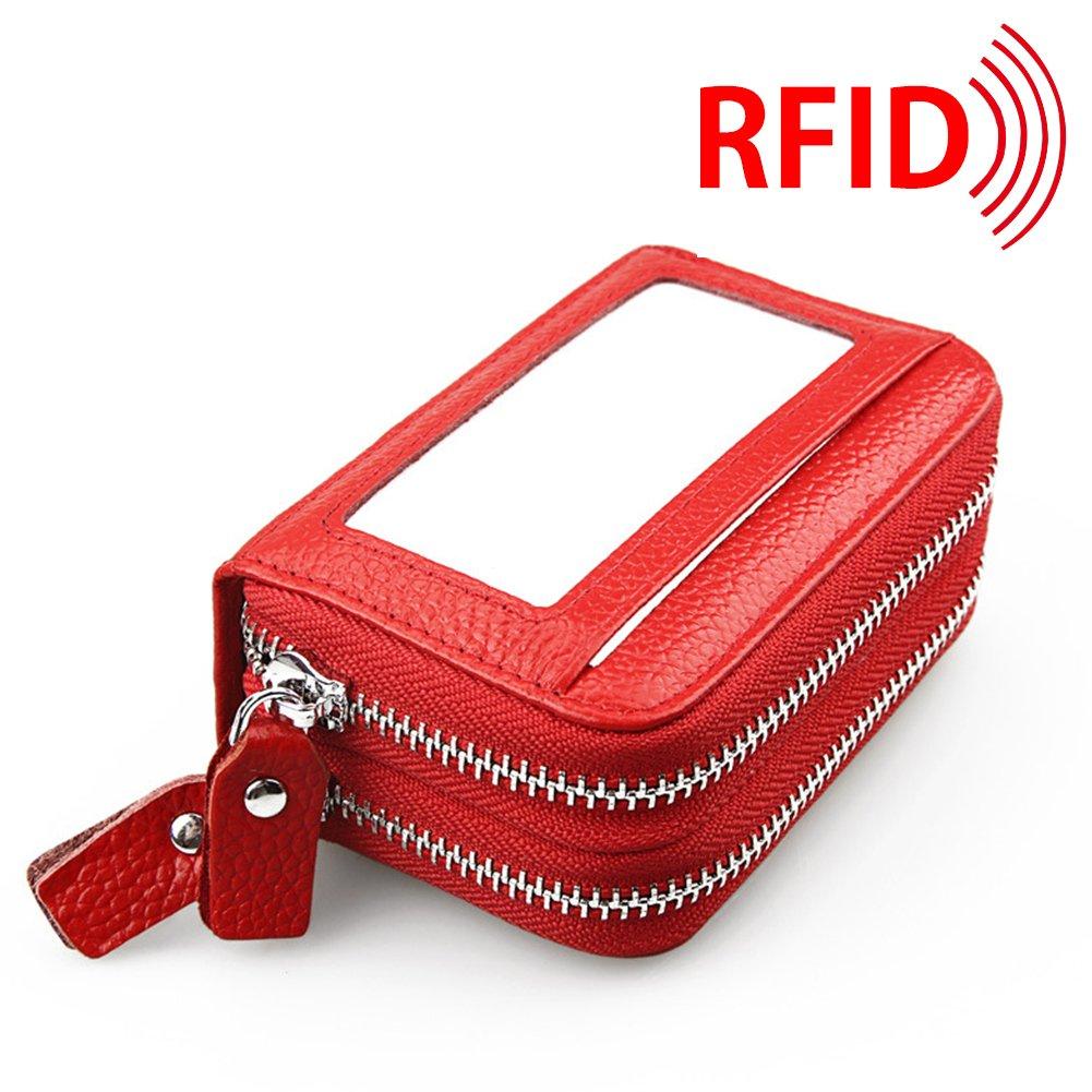 MuLier Top Genuine Leather Women Cash Purse RFID Blocking Anti-Theft Front ID Window Double Zipper Around Card Holder (Black) CH0015-black