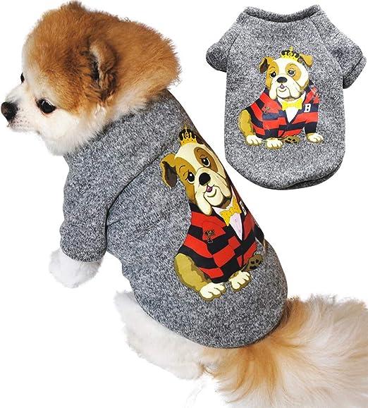 Handfly Ropa para Perros para Perros pequeños Jersey de suéter para Gatos con Estampado de Perro Lindo para Gatos Mascotas Chihuahua Abrigo cálido Perros Ropa de suéter de otoño e Invierno by:
