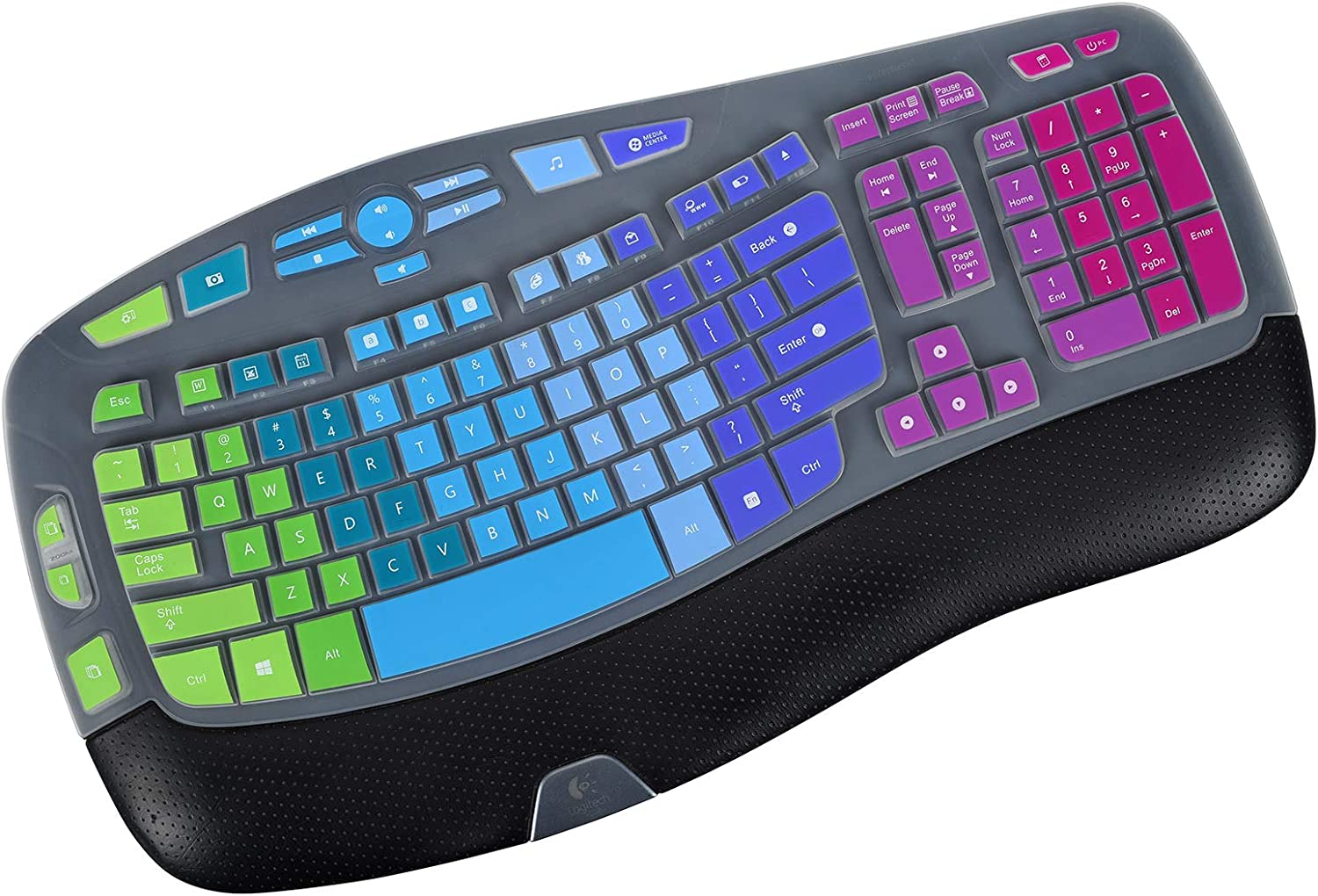 Ultra Thin Keyboard Cover for Logitech K350 & Logitech MK570 MK550 Wireless Keyboard, Logitech K350 MK570 MK550 Wireless Wave Keyboard Cover - Rainbow
