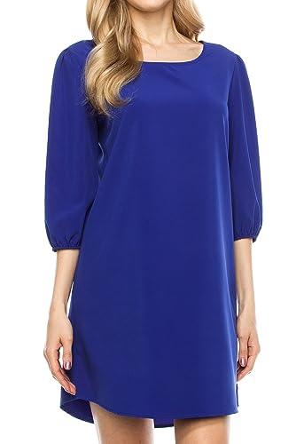 KLKD Women's Solid Round Neck Bishop 3/4 Sleeve Shift Dress
