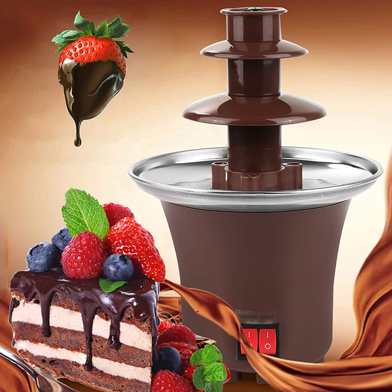 Chocolate Fountain Machine Electirc Chocolate Fondue, Easy To Assemble 3 Tier Stainless Steel Fondue Heat & Motor Controls, Perfect for Nacho Cheese, BBQ Sauce, Ranch, Liqueuers