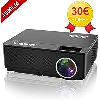 """YABER Vidéoprojecteur 4500 Lumens Soutien 1080P Full HD Home Cinéma Projecteur LED avec Deux Haut-parleurs Stéréo (de Qualité HiFi - Haute-fidélité) et 3 Ventilateurs Intégrées, 200"""" Affichage"""