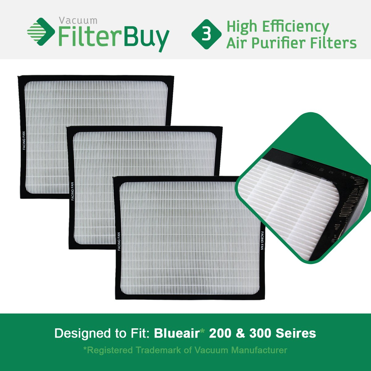 3 FilterBuy filters designed to fit Blueair 200 & 300 Series Air Purifiers.