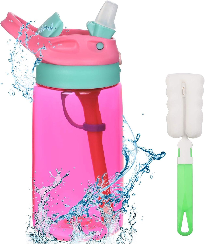 flintronic Botella Agua con Pajitas, Botella de Agua para Niños, 480ml/16OZ Botella a prueba de Fugas, Grado alimenticio PP Plástico, para Deportes y Aire Libre, Rosa Roja