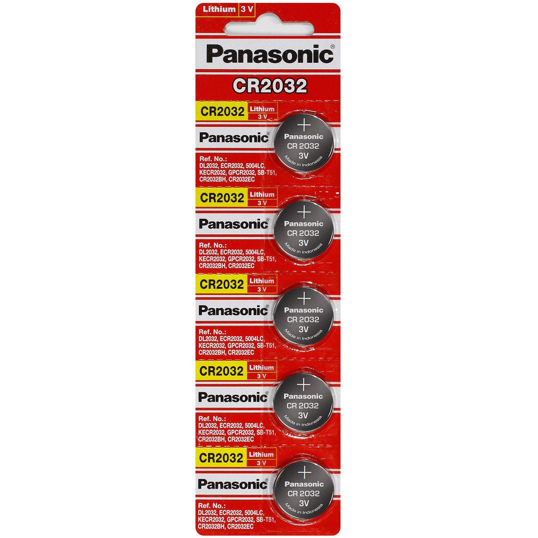 Panasonic CR2032 Lithium 3 Volt Battery (5 pieces) by Panasonic (Image #1)