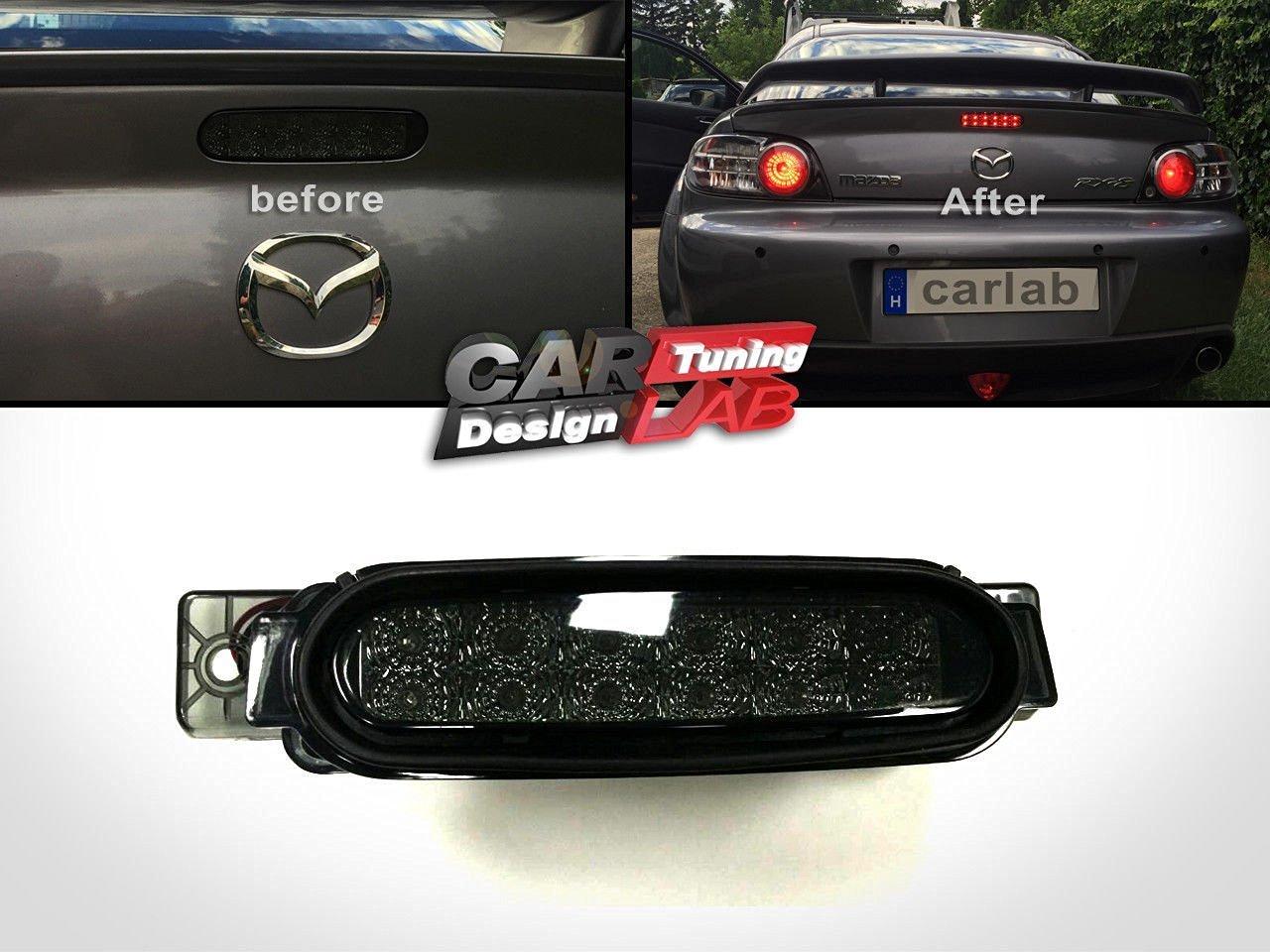 CarLab (1) para tercer freno, LED rojo, lente ahumada, bombilla para 04 -08 Mazda RX8 RX-8: Amazon.es: Coche y moto