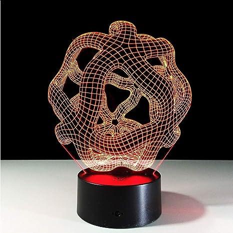 Lámpara de escritorio 3D abstracta Led remoto táctil Luz nocturna ...