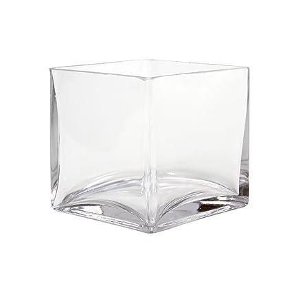 Amazon Koyal Wholesale 404344 6 Pack Cube Square Glass Vases 5