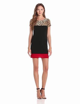 Star Vixen Women's Short Sleeve Print Yoke Color Block Dress, Leopard/Black/Red, Medium