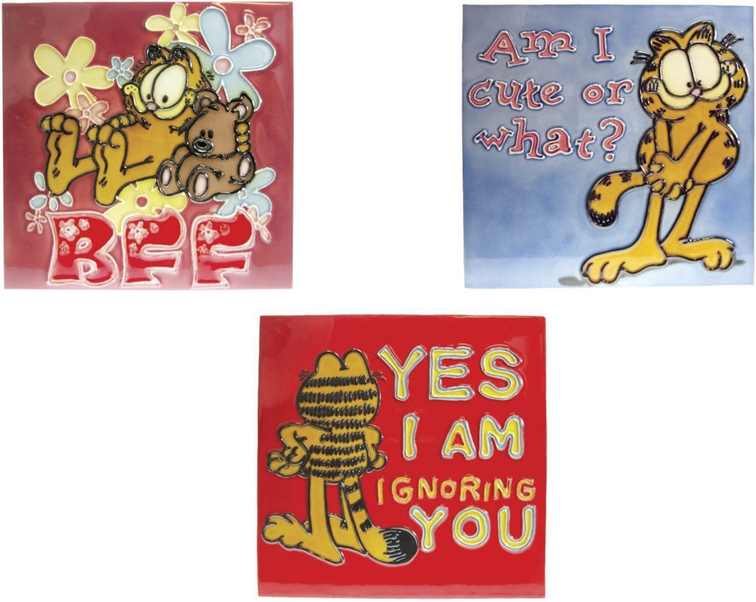 Amazon Com Westland Giftware Collection Of 8 X 8 Tiles Of Garfield Bff Cute And Yes I Am Home Kitchen