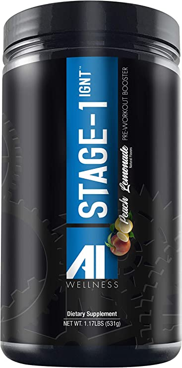 AI WELLNESS Stage-1 IGNT Pre Workout Powder – Dietary Supplement Men and Women – Contains N-Acetyl L-Tyrosine, Carnosyn Beta-Alanine, BetaPower Betaine – Energy Boost, Increased Performance – 1.17Lbs