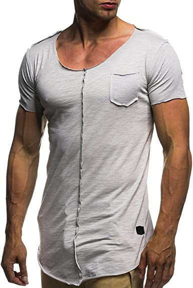 YEBIRAL Camisetas Mangas Cortas Color Sólido Hombres, Camisas ...