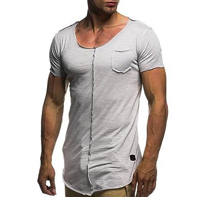 c0df1b6aad7 T-Shirt Hommes CIELLTE Uni Col V Manches Courtes Tee Slim Fit V Cou Manches  Courtes T-Shirt Muscle en Coton Casual Tops Chemisier T-Shirt Homme   Amazon.fr  ...