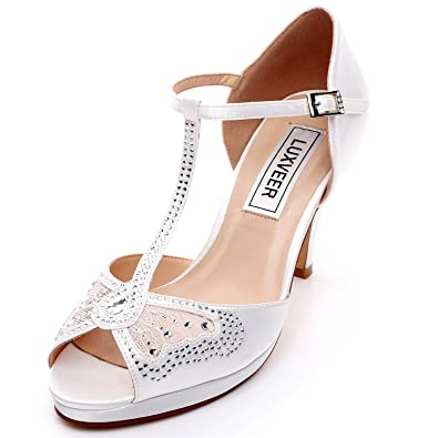 28898c1a3a8 LUXVEER Women Wedding Sandals with Silver Rhinestone and Lace Butterfly -  Heels 3.5 inch-HK