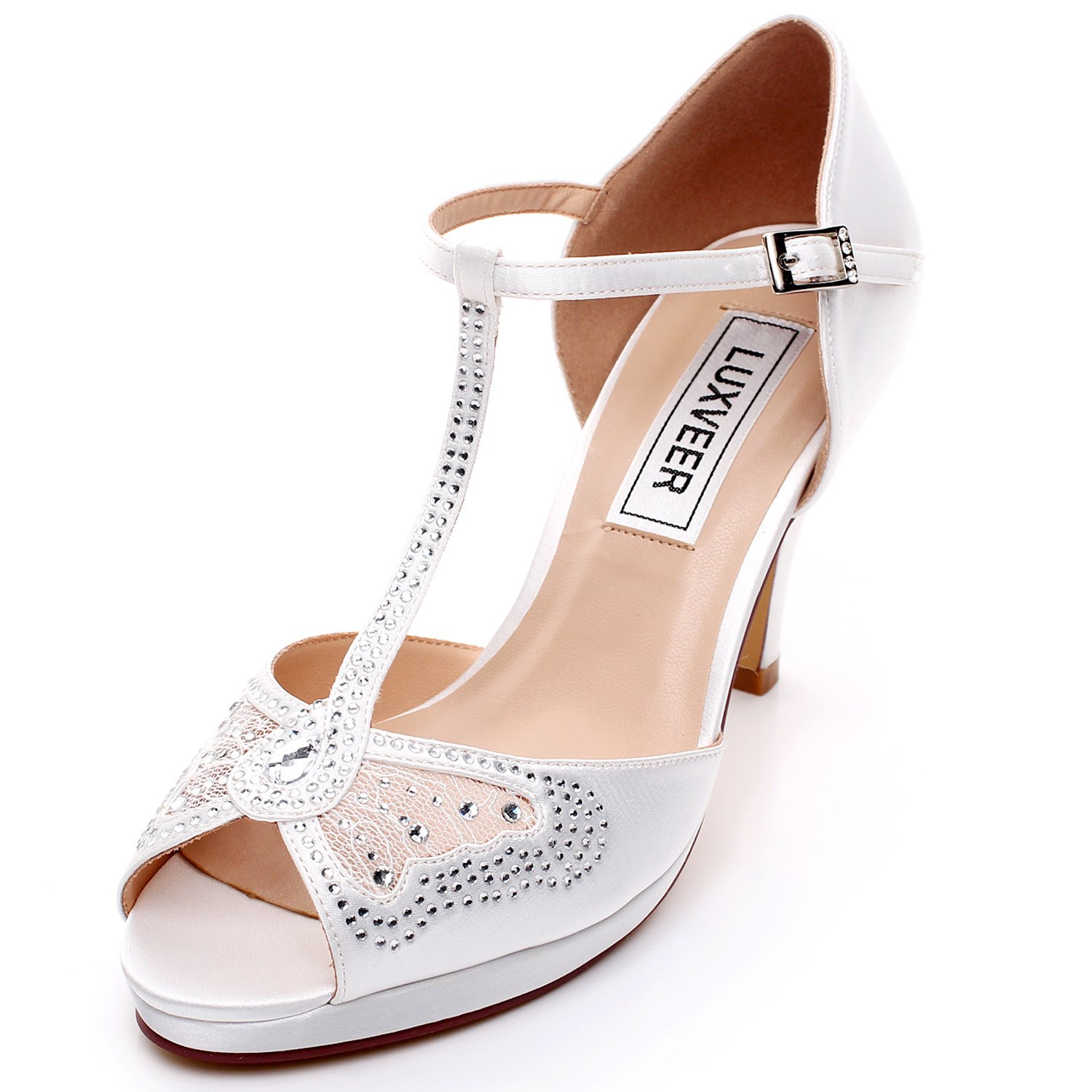 LUXVEER Wedding Sandals Heels for Women ,Silver Rhinestone and Lace Butterfly - Heels 3.5 inch-HK-0192C-Ivory-EU40 Wedding Shoes