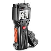 Tacklife Humidimètre, Testeur d'Humidité du Bois MWM03 avec 7 Modes, Fonction de Maintien de Données, Plantes, Ciment, Plage 0,0% ~ 60,0%, Rétroéclairage LCD, Tiges de Rechange