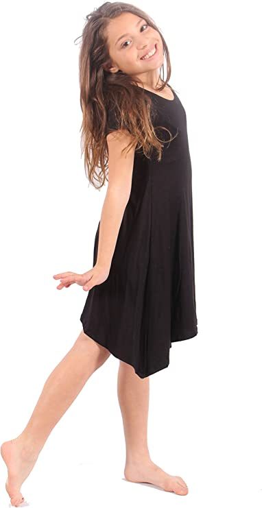 Lori/&Jane Girls Comfy Swing Tunic Short Sleeve Solid T-Shirt Dress