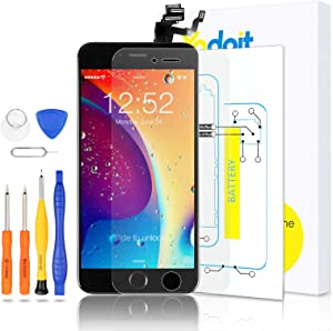 Yodoit for iPhone 6 Plus Screen Replacement Touch LCD Display Digitizer Glass Full Assembly Camera Home Button Proximity Sensor Earpiece Speaker + Tool Kit 5.5 inches (Black)