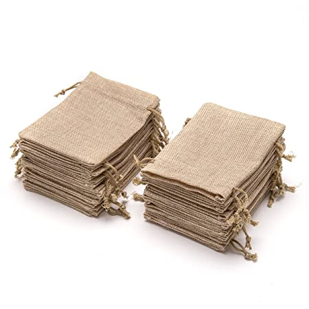 60 Pieces Burlap Bags with Drawstring - 5.3x3.8 inch Drawstring Gift Bags Jewelry Pouch for...