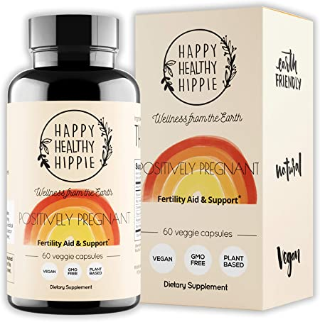Happy Healthy Hippie Positively Pregnant - Fertility Supplement – Women's Plant Based Hormone Balancing Conception Support Fertility Supplements - Red Clover, Chasteberry, Shatavari Extract - 60ct