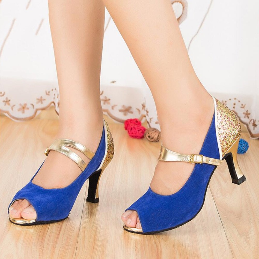 Onfly New Damen Latin Schuhe/Ballroom Schuhe Satin/Seide Sandale Indoor/Professional Schnalle Ferse Tanzschuhe Party  Abend Pink, Blau eu size  33|B