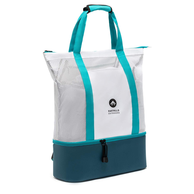 Mesh Beach Tote Bag with Insulated Picnic Cooler Top Zipper Shoulder Bag Super