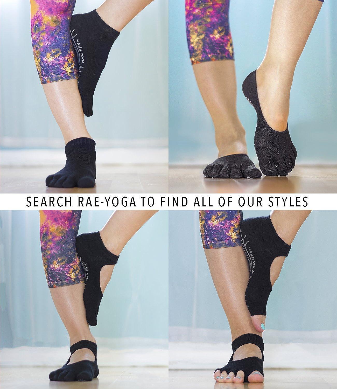 2 Pairs @ RAE YOGA Barre Pilates Non Skid Full Toe Ankle Socks @ Bamboo Barefoot Feel