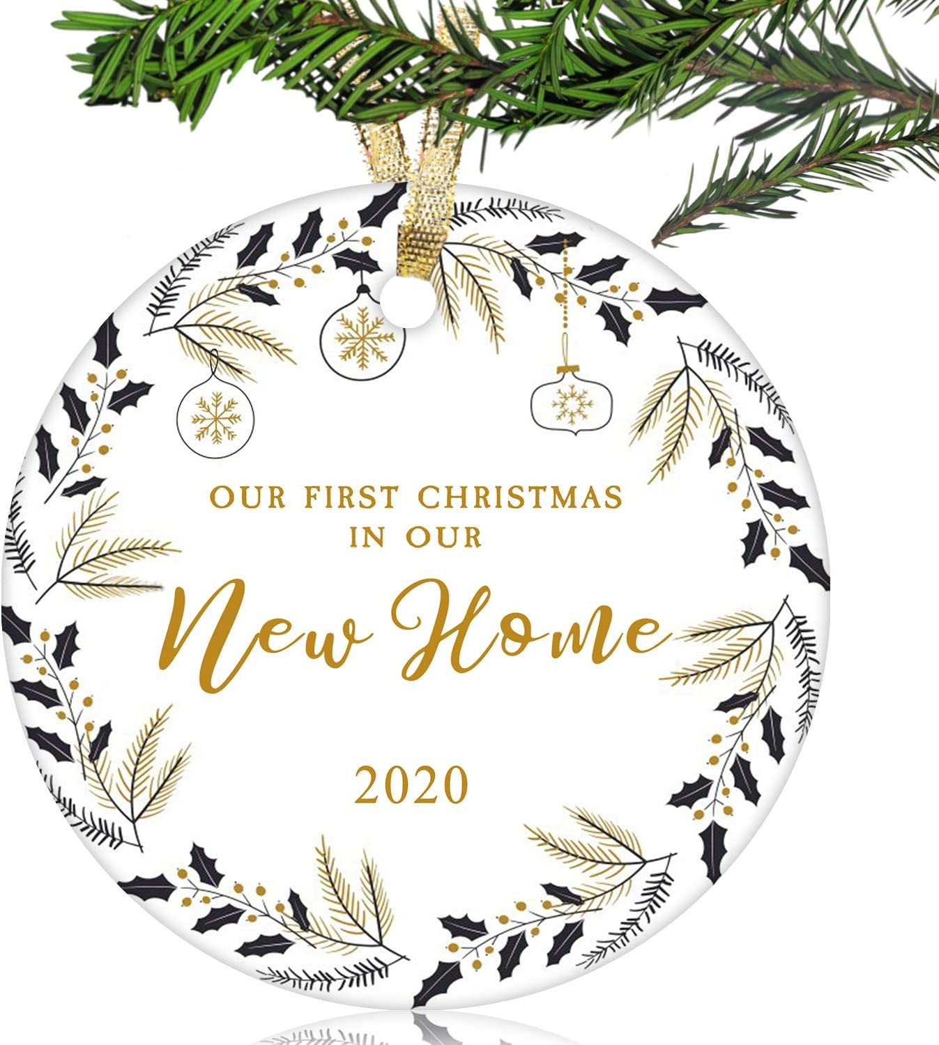 """NURIONSS Our First Christmas in Our New Home Ornaments 2020 - Christmas Wedding Decoration Gift for New Home New Homeowner New Apartment - 2.85"""" Ceramic Ornament(New Home 15)"""