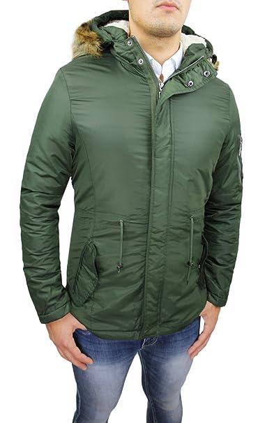 Chaqueta Parka Para Hombre Verde Invierno Casual Slim Fit chaqueta plumón Eskimo con capucha y pelo: Amazon.es: Ropa y accesorios