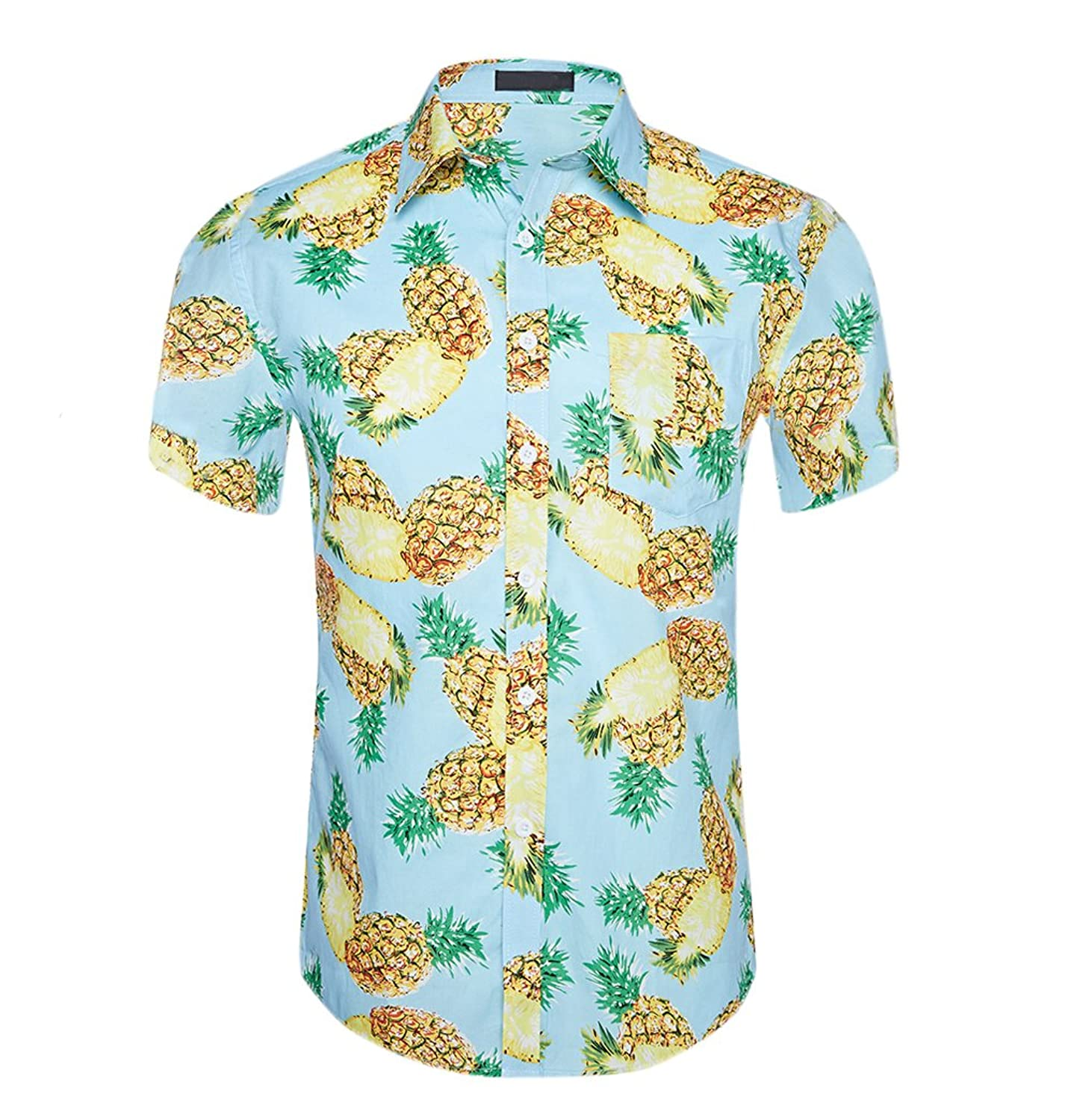 0c53b782 Men's Summer Casual Dress Button Down Flower Print Caribbean Aloha Hawaiian  Shirts This Shirt Featuring Short Sleeve,Slim Fit,Button Up  Closure,Straight ...