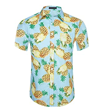 66372a78 CATERTO Men's Relaxed-Fit Cotton Tropical Pineapple Hawaiian Casual Shirt  Blue S