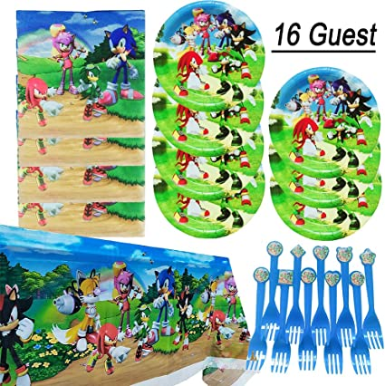 Amazon Com Sonic The Hedgehog Birthday Party Supplies Set Sonic Plates Party Decoration Cake Paper Dessert Forks Set For 16 Guest Toys Games