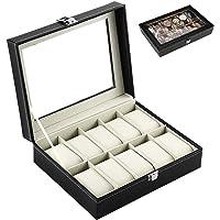 Kurtzy 10 Slots Watch Storage Box Display Case Organizer with Faux Leather Finish and Glass Window