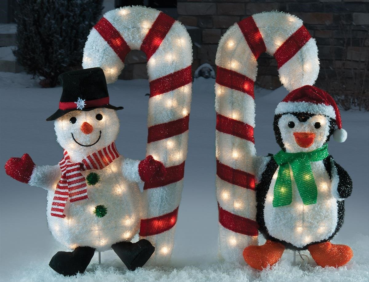 Christmas 2 pc 32'' Tinsel Snowman & Penguin Holding Candy Cane Holiday Decoration