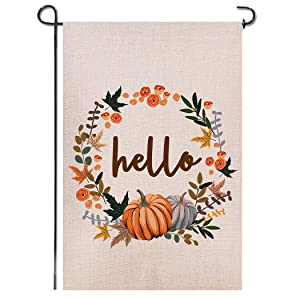 Shmbada Hello Fall Thanksgiving Day Welcome Double Sided Burlap Garden Flag, Premium Material, Seasonal Holiday Outdoor Decorative Small Flags for Home House Garden Yard Lawn Patio, 12.5 x 18.5 inch