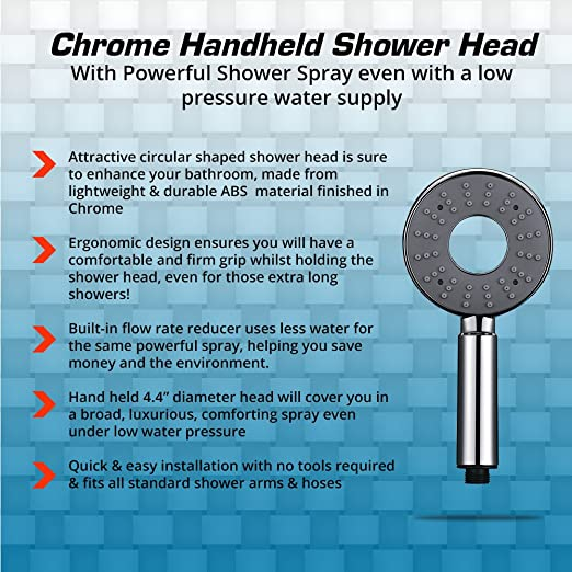 chrome handheld shower head with powerful shower spray even with a low pressure water supply amazoncom