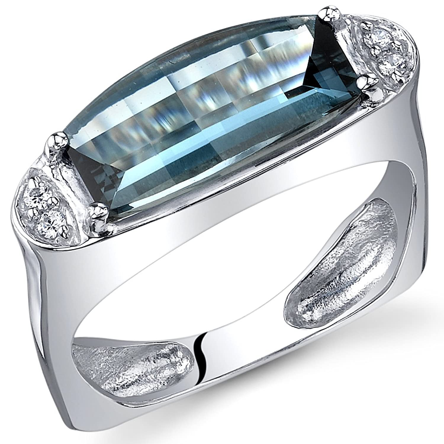 London Blue Topaz Ring Sterling Silver Barrel Cut 3.00 Carats Sizes 5 to 9