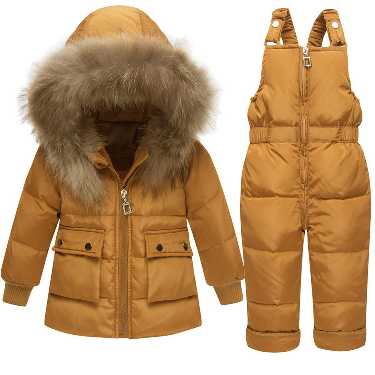 JELEUON Baby Girls Two Piece Winter Warm Hooded Colorful Fur Trim Snowsuit Puffer Down Jacket with Snow Ski Bib Pants Outfits