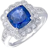 Sterling Silver Created Blue Sapphire Ring (2.10 CT) In Size 7