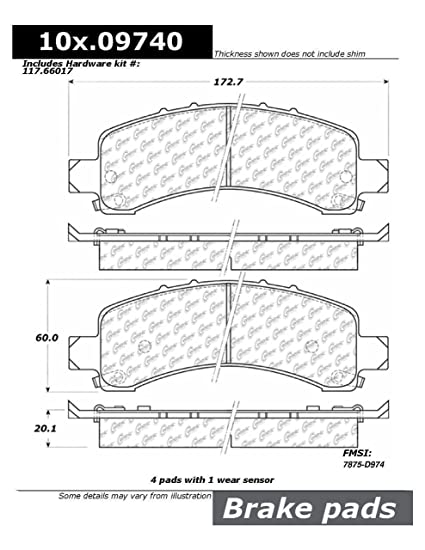 NEW CENTRIC 106.09740 Extended Wear Posi-Quiet Semi Metallic Standard Brake Pad