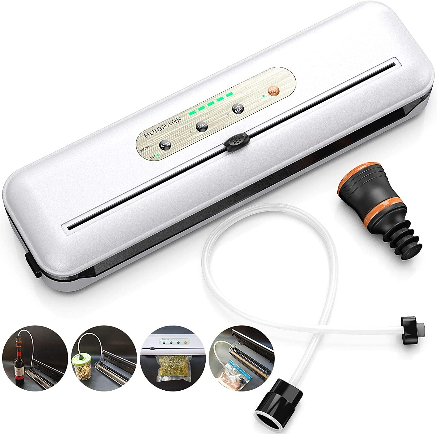 Vacuum Sealer Machine Dry&Moist 80Kpa Food Sealer Kit,Built-in Bag Cutter Inching Pause Function Food Savers,Led Indicator Lights Easy Clean Seal A Meal Vacuum Sealing Kitchen Vacuum Packer,Wine Bottle Sous Vide Bag Vacuum Sealer Bags Cansister Food Container Jar Vacuum Machine(White All in One)