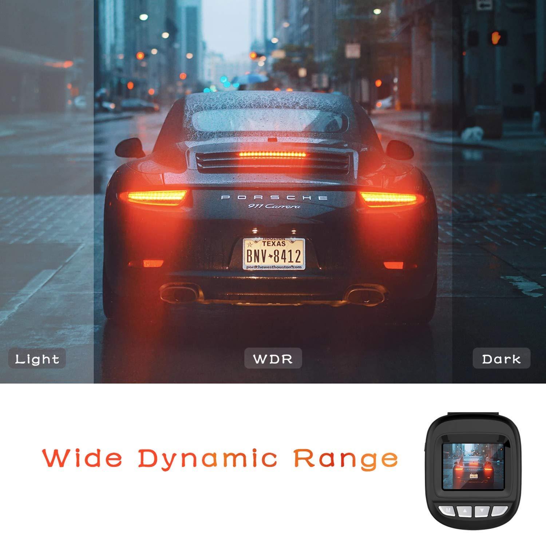 WDR AuKing Cam/éra de Voiture Dashcam Voiture enregistreur de Conduite Full HD 1920x1080P 1.5 Pouces Mini Dash-Cam pour Voiture 168 degr/és Angle Voiture DashCam avec G capteur