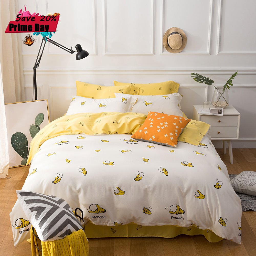 MKXI Kids Duvet Cover Set Cotton Cute Banana Pattern Children bedding 3 Pieces Twin Size(with 2 Matching Pillow Shams)