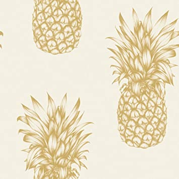 Arthouse Copacabana Gold Pineapple Wallpaper Modern Decor