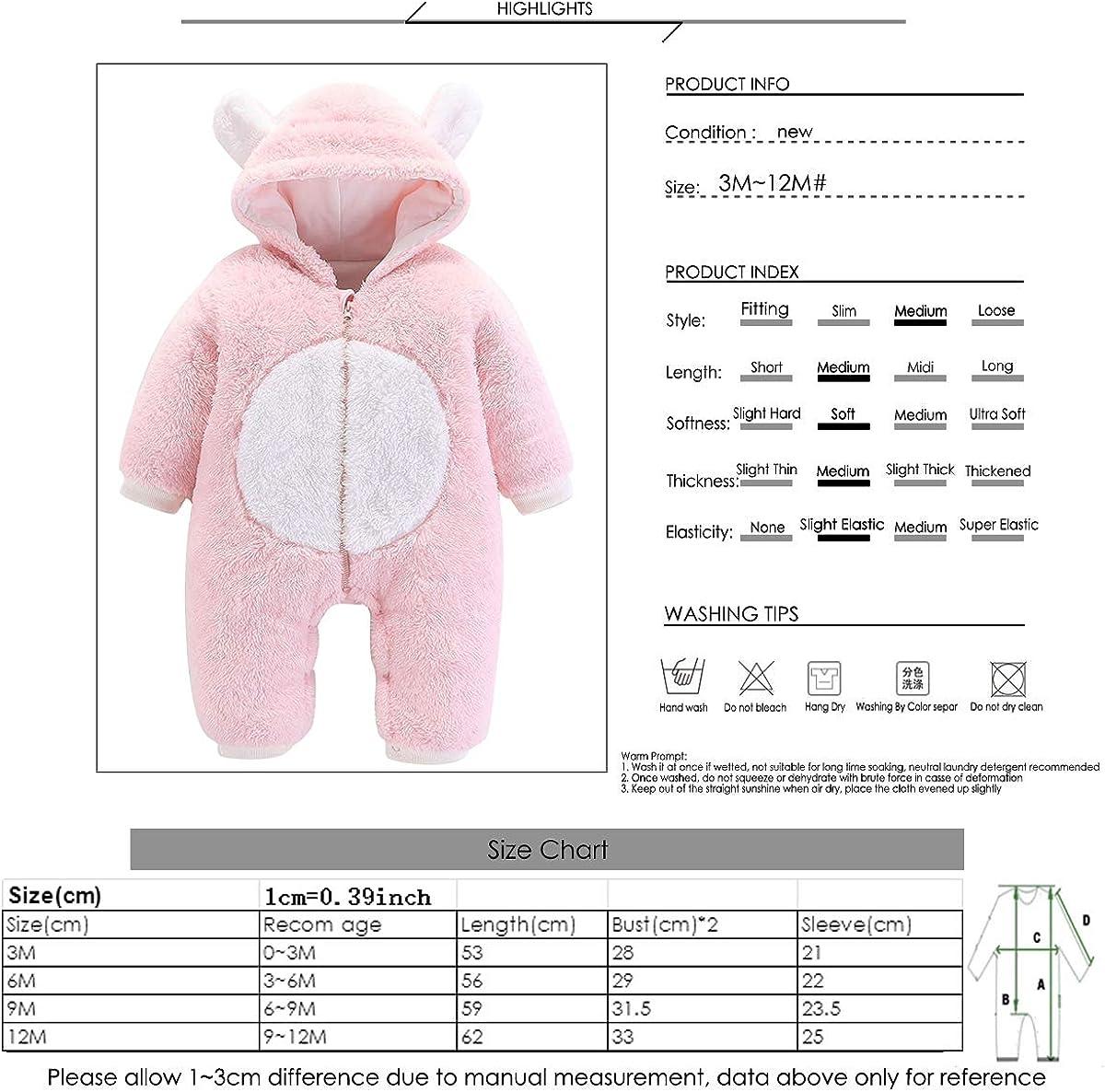 greatmtx Neugeborenes Baby Strampler Outfit Langarm Coral Fleece Kapuze Overall Bodysuit f/ür 0-12 Monate