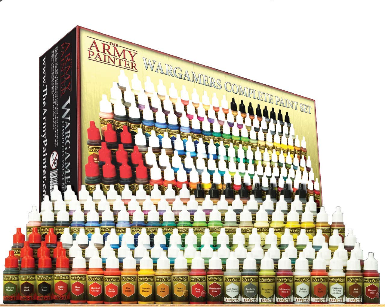 The Army Painter Wargamers Complete Paint Set - Miniature Painting Kit with 124 Model Paints, 5 Bonus Miniatures Paint Brushes and a Free Painting Guide - Miniature Paint Set for Miniature Figures by The Army Painter