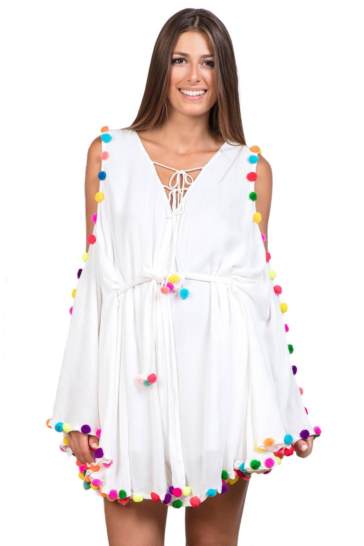Sundress Women's Wovens Long Sleeve Dress Swim Cover Up White/Multi M/L by Sundress