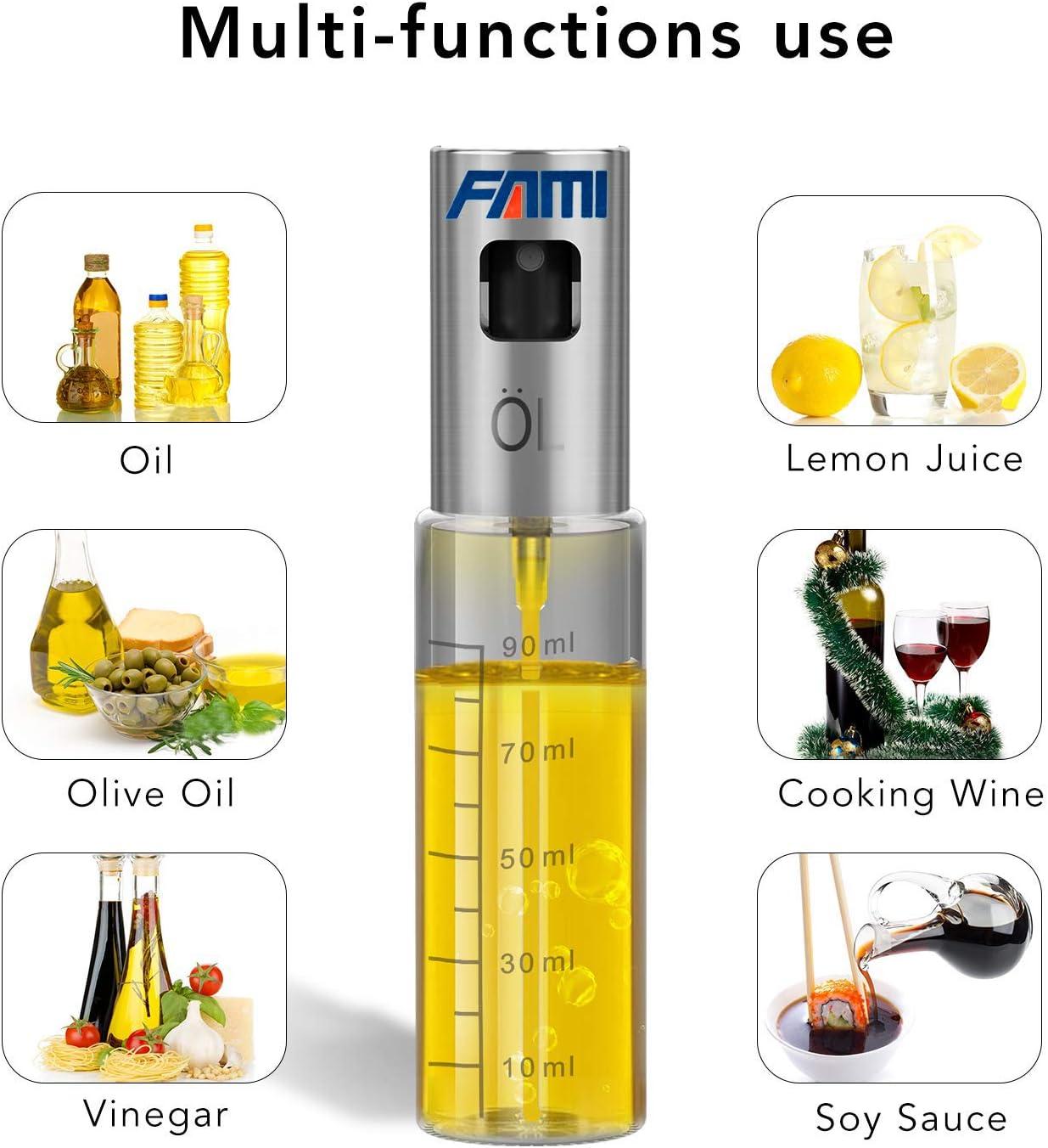 Roasting TIMGOU 3.42 oz Oil Dispenser Glass Bottle to Spray Oil Vinegar Lemon Juice Wine for Cooking Kitchen Baking Oliver Oil Sprayer with BBQ Oil Brush Salad BBQ