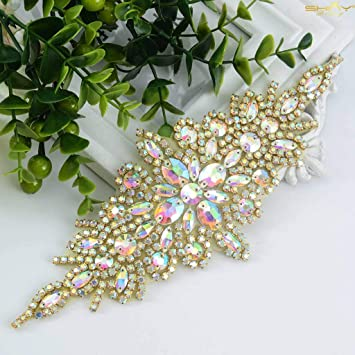 1Pc DIY Clear Rhinestone Applique Trims for Bridal Costume Sewing Craft 4 Types